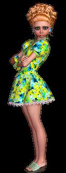 Girl, Green Dress, Fashion, Stylish, Beauty, Young Girl