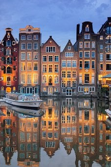 Buildings, Architecture, River, Illuminated, Reflection