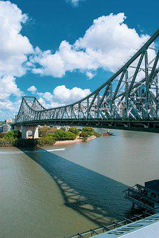 Bridge, River, Structure, Urban, City, Brisbane
