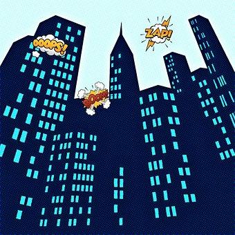 Buildings, City, Comic, Onomatopoeia, Skyscrapers