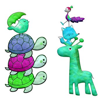 Animals, Turtles, Giraffe, Cute, Colorful