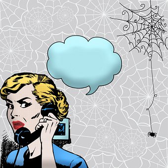 Halloween, Comic, Woman, Speech Bubbles, Phone Call
