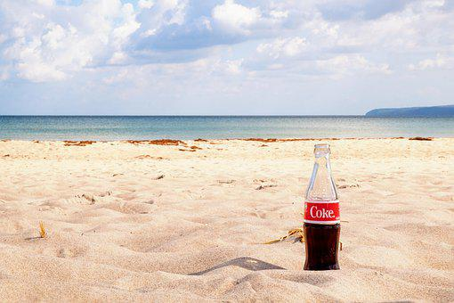 Beach, Sand, Soft Drink, Drink, Beverage, Cola