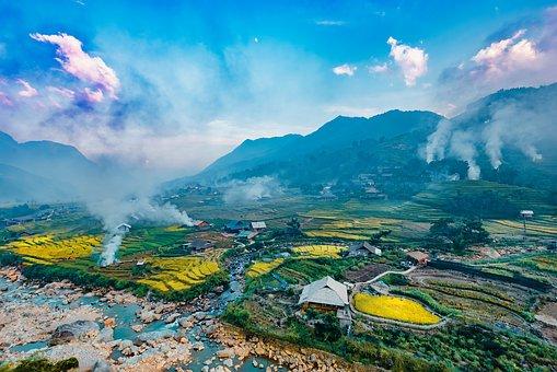 Landscape, Terraces, Rice, Smoke, Field