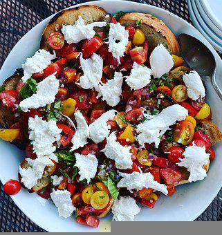Appetizer, Salad, Tomatoes, Fresh Tomatoes, Cheese