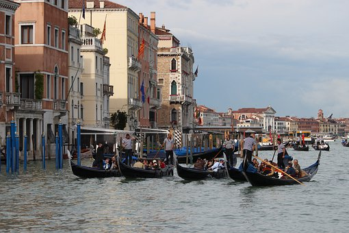 Gondolas, Canal, Waterway, Channel, Water, Destination