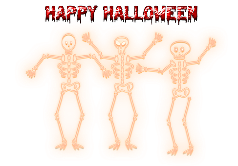 Skeletons, Skulls, Bones, Halloween, Neon, Gothic