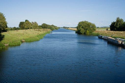River, Boats, Forest, Trees, Grass, Vegetation