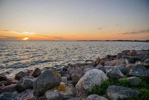 Sunset, Boulders, Sea, Breakwaters, Ocean, Horizon