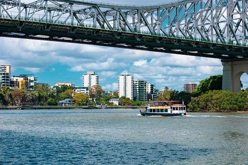 Bridge, River, Structure, City, Architecture, Brisbane