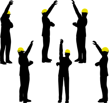Silhouette, Workers, Headgear, Hardhat, Laborers