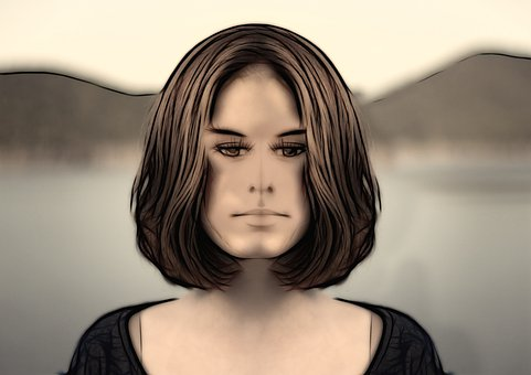 Woman, Young, Face, Abstract, Drawing, Art, Model