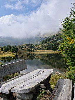 Lake, Wooden Bench, Mountains, Alpine, Alps, Conifers