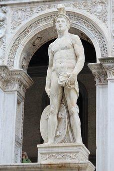Statue, Sculpture, Art, Figure, David, Venice, Italy