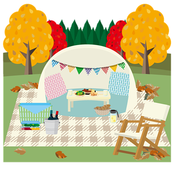 Autumn Season, Camp, Picnic, Picnic Icon, Tent, Icon