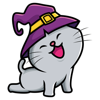 Halloween, Cat, Witch Hat, Icon, Cartoon Cat, Cat Icon