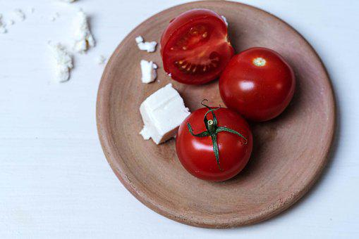 Tomatoes, Cheese, Food Board, Ripe Tomatoes