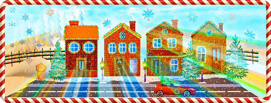 Houses, Snowflakes, Christmas, Winter, Snow, Trees
