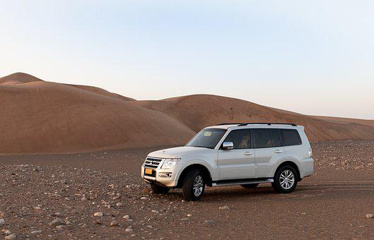 Vehicle, Car, Desert, Sand Dunes, Sunset, Muscat