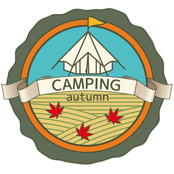 Camp, Tent, Badge, Emblem, Leaves, Autumn