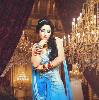 Woman, Model, Dress, Chandelier, Lights, Fashion
