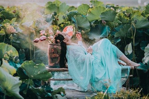 Woman, Model, Dress, Pose, Barefoot, Flowers, Garden