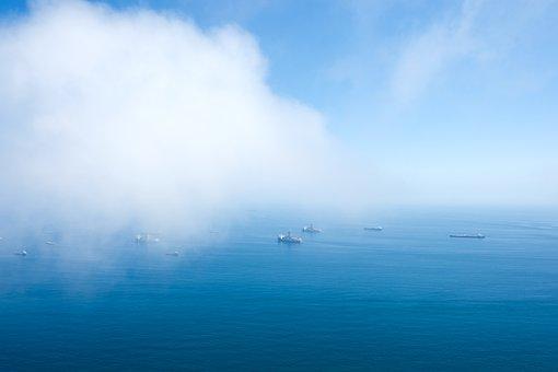 Ocean, Sea, Boats, Mist, Clouds