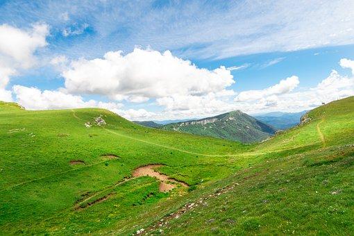 Landscape, Mountain, Peak, Summit, Field, Meadow