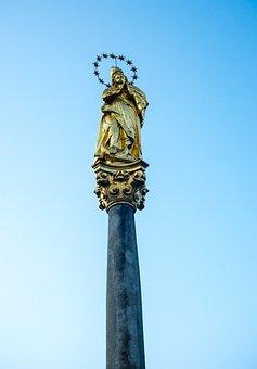 Statue, Sculpture, Monument, Virgin Mary, Maria, Pillar