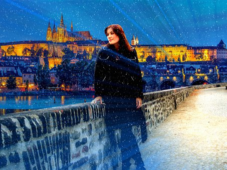 Girl, Snow, Wall, Winter, Lights, City, Prague