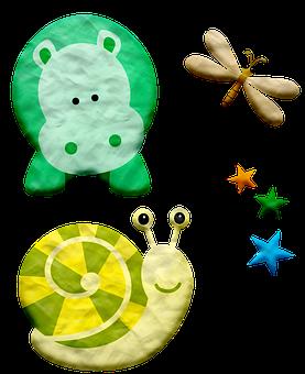 Snail, Hippo, Stars, Play Dough, Plasticine, Clay