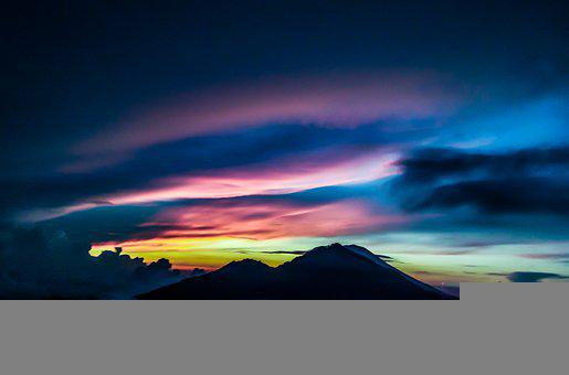 Mountains, Clouds, Silhouette, Sunset, Dusk, Twilight