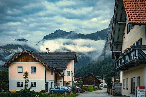 Village, Cottage, Houses, Mountains, Fog, Cars