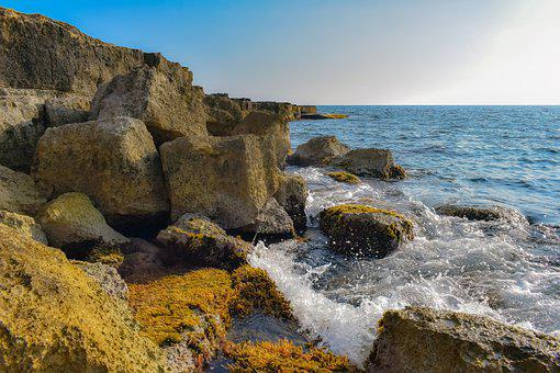Rocky Coast, Sea, Waves, Boulders, Rocks, Breakwaters