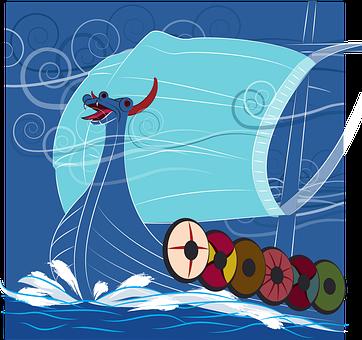 Boat, Ship, Mask, Dragon, Ocean, Waves