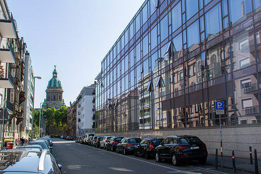 Road, Buildings, Glass Facade, Church, Cars, Cathedral