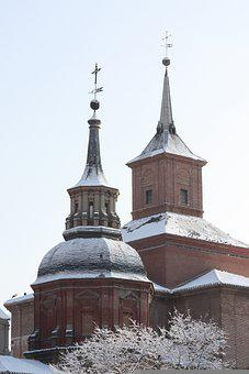 Building, Church, Cross, Dome, Roof, Snow, Winter