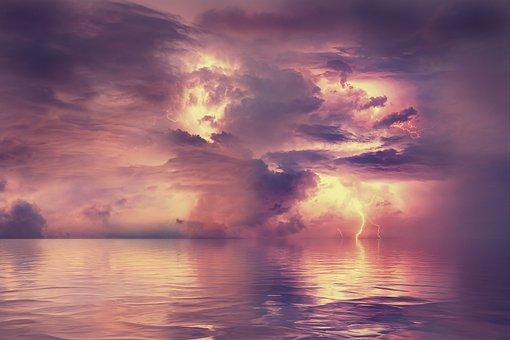 Seascape, Storm, Lightning, Sea, Ocean, Water, Horizon