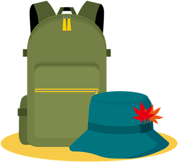Backpack, Hat, Icons, Backpacking Icons, Hiking
