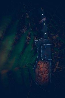 Scabbard, Leather Knife Holder, Knife