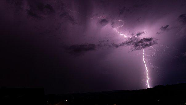 Thunderstorm, Lightning, Sky, Dark, Night, Evening