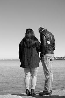 Couple, Relationship, Coast, Bay, Sea, Ocean, Man