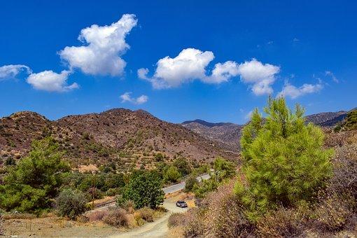 Mountains, Badlands, Car, Road, Mountain Range, Path