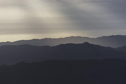 Mountains, Hills, Silhouette, Sun Rays, Sunlight