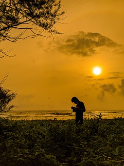 Sunset, Beach, Man, Orange Sky, Sun, Photographer