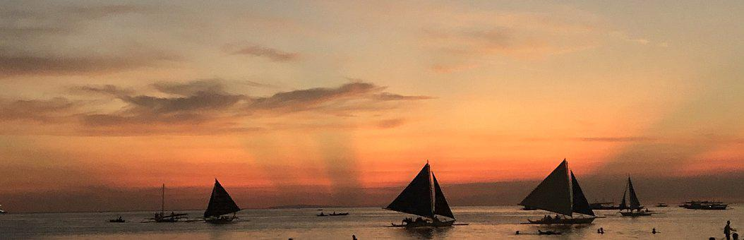 Sails, Sunset, Beach, Panorama, Silhouettes, Sailboats