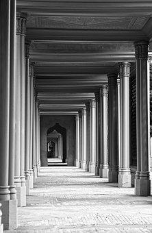 Columnar, Hallway, Pillars, Passageway, Arcade, Walkway