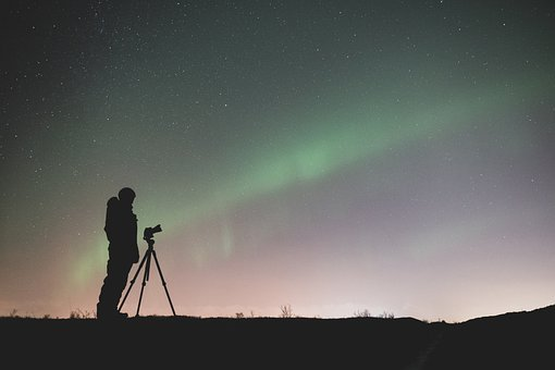 Iceland, Aurora Borealis, Silhouette, Photographer
