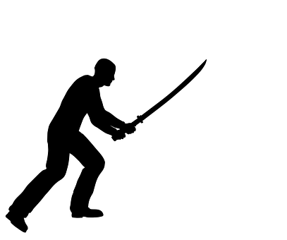 People, Silhouette, Defense, Battle, Katana, Weapon