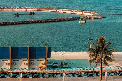 Building, Cable Car, Palm Tree, Cpast, Ocean, Travel